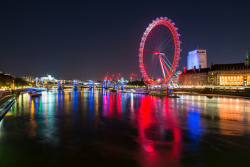 The London eye at night.