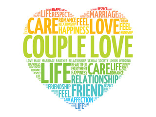 Couple love concept heart word cloud