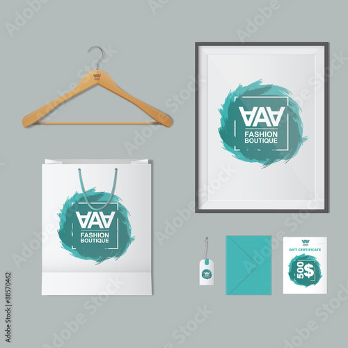 Mockup fashion boutique. Mockup with hanger for clothes, frame ...