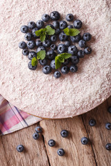 Delicious blueberry cheesecake with coconut close-up. vertical top view