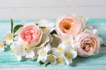 Roses and jasmine flowers