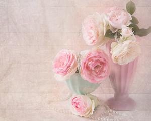 Sweet pink roses flowers in vases