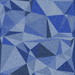 Denim background with seamless polygonal pattern. Various shades of blue.