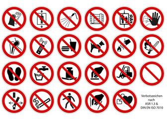 Verbotszeichen Set nach ASR 1.3