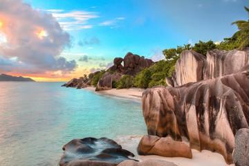 Anse Source d'Argent Sonnenuntergang, La Digue - Seychellen