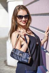 Beautiful blonde woman in sunglasses