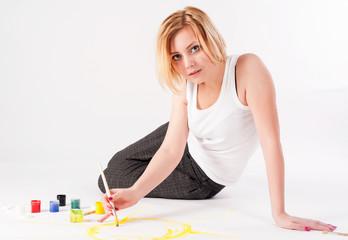 Pretty artist woman under work