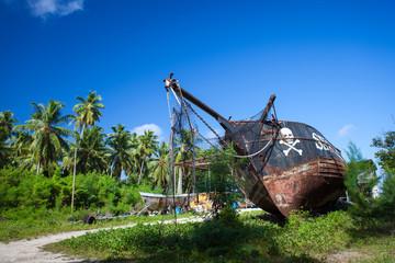 Schiffswrack auf La Digue, Seychellen