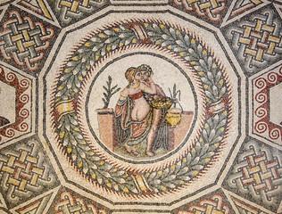 Erotic mosaic in Roman Villa of Casale Piazza Armerina Sicily