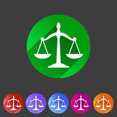 Law balance icon flat web sign symbol logo label