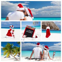 Christmas on caribbean beach collage
