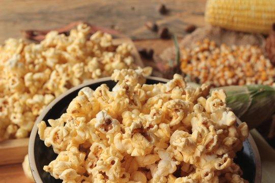 Popcorn and yellow dry corn grain with fresh corn.