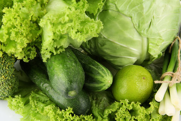 Heap of green vegetables close up