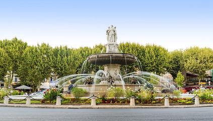 Fountain at La Rotonde in Aix-en-Provence, France