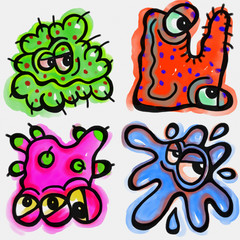 A set of four funny cartoon watercolour germ characters.