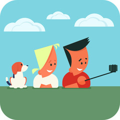 Young couple with dog lying on the grass and taking selfie using smartphone and selfie stick. Vector illustration.