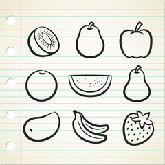 set of fruit icon in doodle style