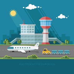 Airport landscape. Travel Lifestyle Concept of Planning a Summer