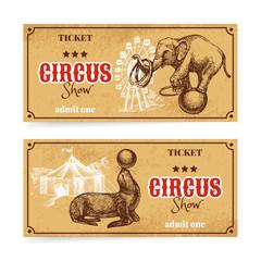 Vintage circus show ticket set. Hand drawn sketch vector
