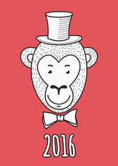 Vector hand drawn face of elegant fashionable monkey aristocrat.