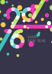 New Year 2016 creative greeting card. Abstract colorful confetti
