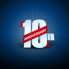 10th Anniversary 3D on blue background