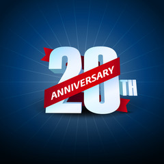 20th Anniversary 3D on blue background