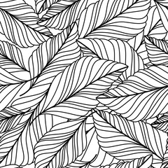 Vector hand drawn doodle leaves seamless pattern. Abstract autum