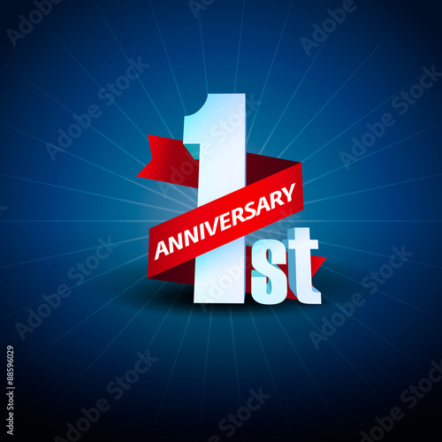 Quot st anniversary d on blue background stock image and