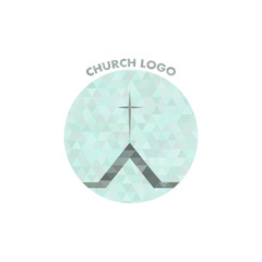 beautiful church logo in crystals. cross on the roof.