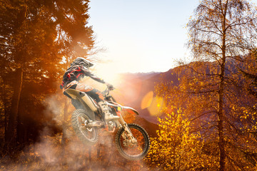 Fototapete - motocross at sunset