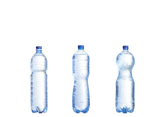 collage Soda water bottle with blank label. Isolated on white