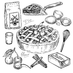 hand drawn set cooking pie