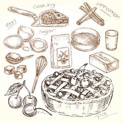 hand drawn illustration cooking