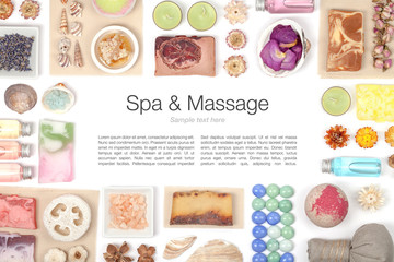 spa and massage elements on white background