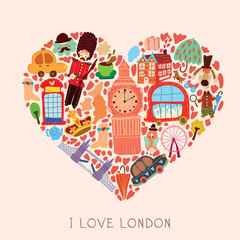 Greeting card-I love London. With many vector cute elements Styl