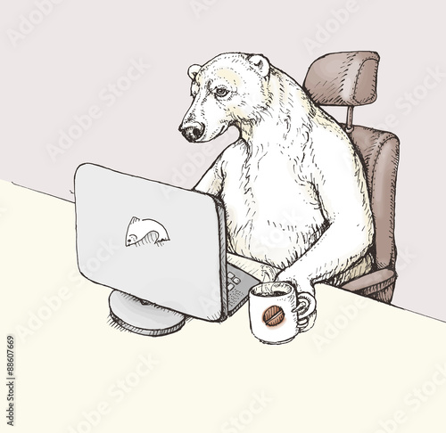 quotfunny cartoon a polar bear sitting on the writing desk
