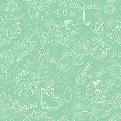 Weather semless pattern.Cartoon background. Can be used for wall