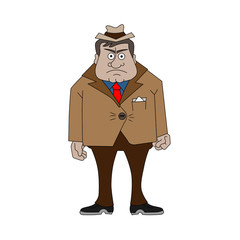 Cartooning gangster in a hat and jacket. Vector illustration isolated on white background.