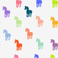 Multi-colored horses on a white background.