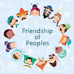 Friendship of Peoples - Friendly card with many nationalities