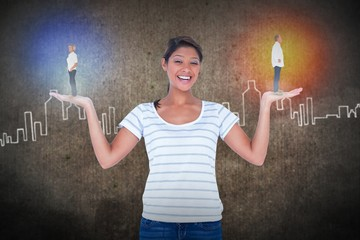 Composite image of a casual businesswoman with hands outstretched