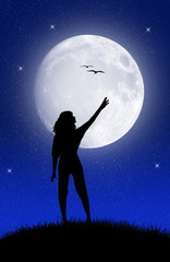 girl touch the moon