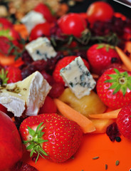 Closeup photo of a food mix(fruits,vegetables and cheese)