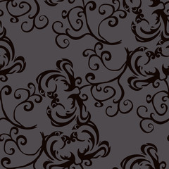 Black pattern on a gray background.Seamless.