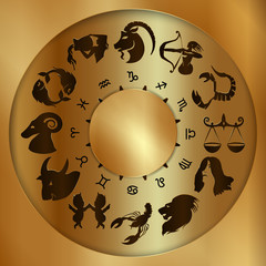 Vector illustration of zodiac signs on a gold disk in the center of the star the sun, isolated object