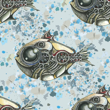 The image of fish in the style of steampunk. Watercolor stains in the background. Vector seamless pattern.