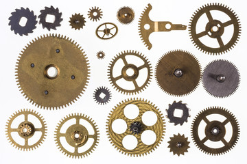 Old clockwork cogs and clock parts - Isolated