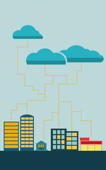 Cloud data exchange with cityscape and clouds. Flat style eps10 vector illustration