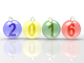 2016 New Year concept. Digits of the year in colorful glass Christmas balls on white background